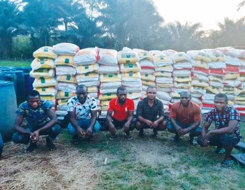 6 Rice Smugglers Arrested By Nigerian Navy, 1,439 Bags Of Rice Seized In Akwa Ibom