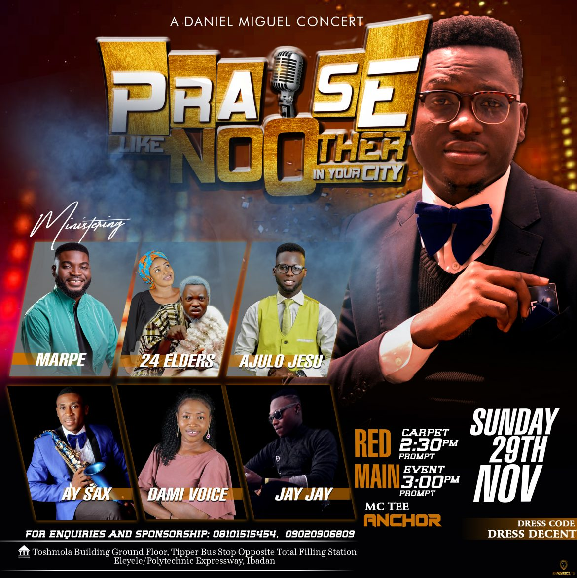 Ibadan are you ready? Praise like No Other in Ibadan City with Daniel Miguel