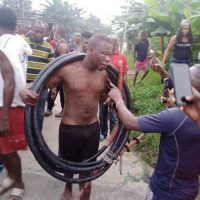 Inside Life (NEWS) Man Brutalized And Paraded For Allegedly Stealing Transformer Cables In Akwa Ibom (Photos)